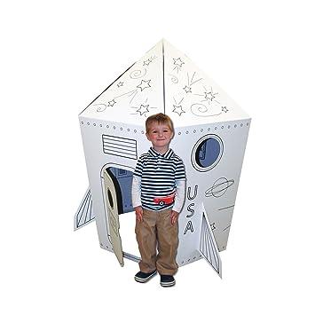 Amazon.com: Cardboard Coloring Rocket Playhouse: Toys & Games