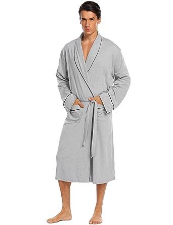66192ad33c Ekouaer Men s Bathrobes Cotton Spa Robes Long Tall Lounge Bathrobe  (XX-Large