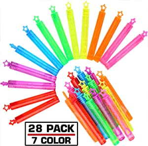 Punertoy 28 Pack Mini Bubble Wand Set(7 Colour), Party Favor Summer Toy for Kids Party, Celebrations, Birthdays, Gift