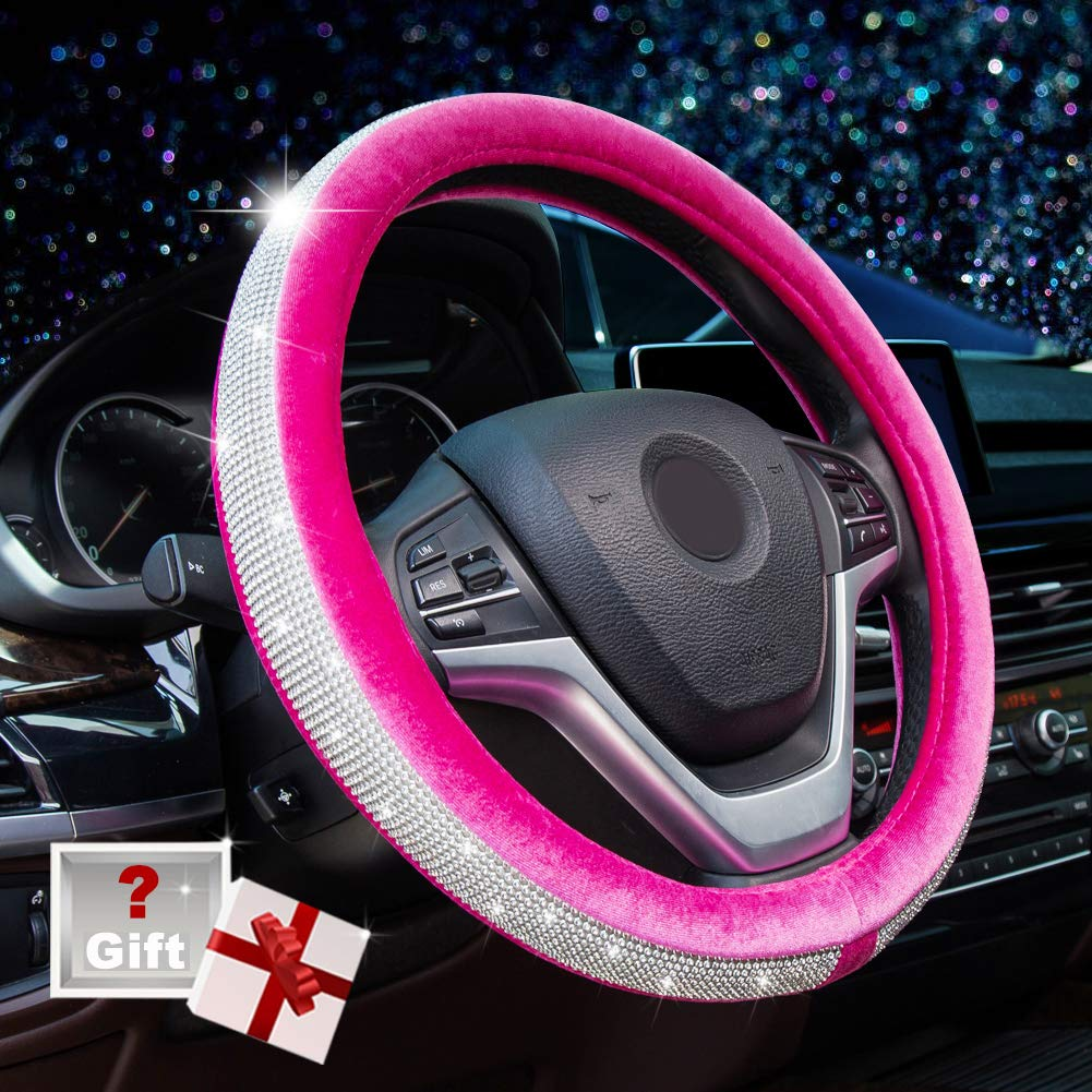 Alusbell Crystal Diamond Steering Wheel Cover Soft Velvet Feel Bling Steering Wheel Cover for Women Universal 15 inch Plush Wheel Cover for Escape Fusion Focus Accord Prius Rav4 Rose Red