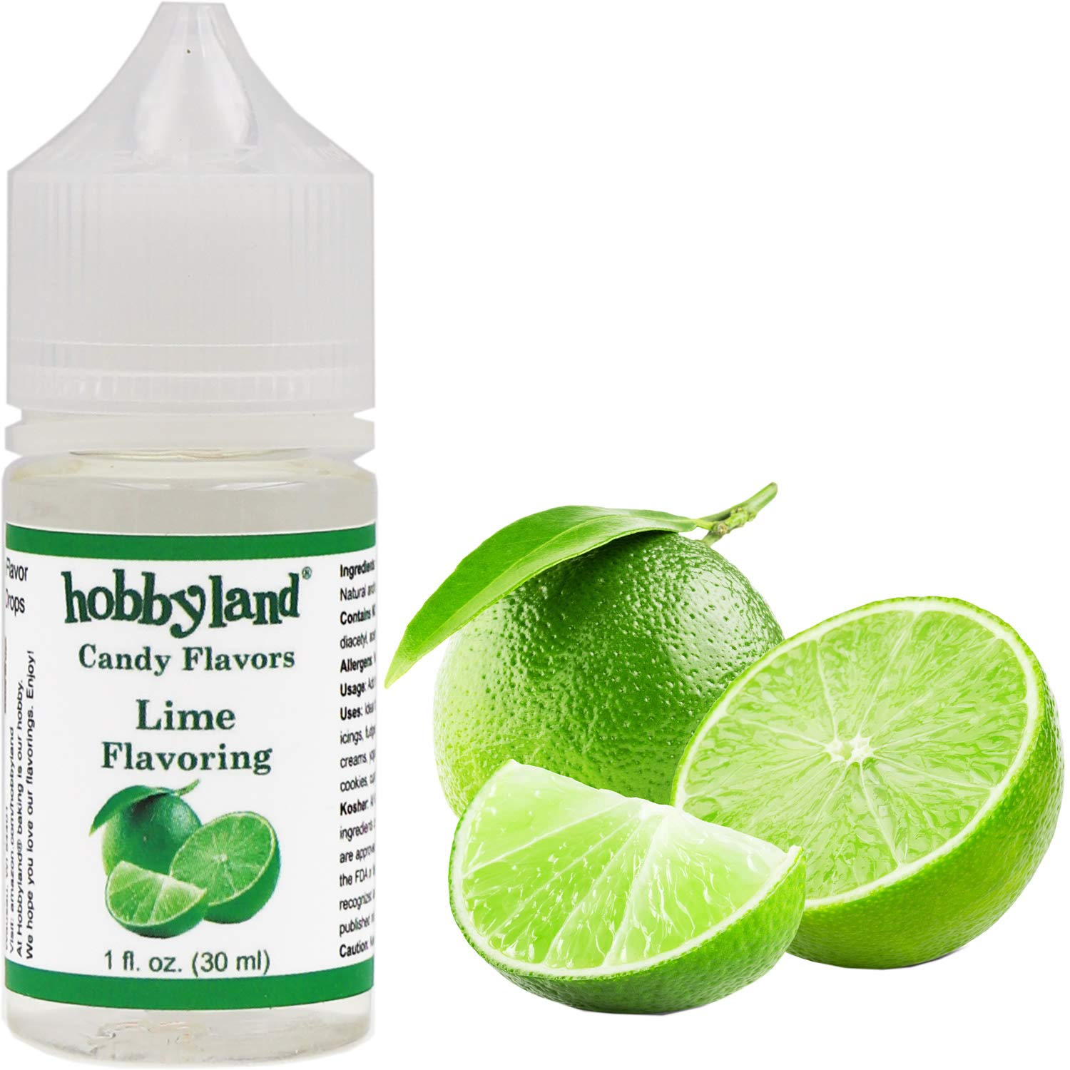 Hobbyland Candy Flavors (Lime Flavoring, 1 Fl Oz), Lime Concentrated Flavor Drops