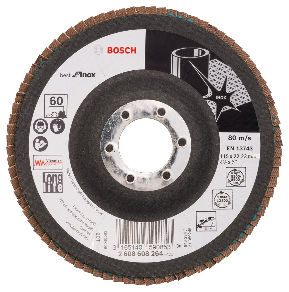 60 Bosch Professional 2608608264 Flap disc X581 22.23 Best for INOX 115 mm Black