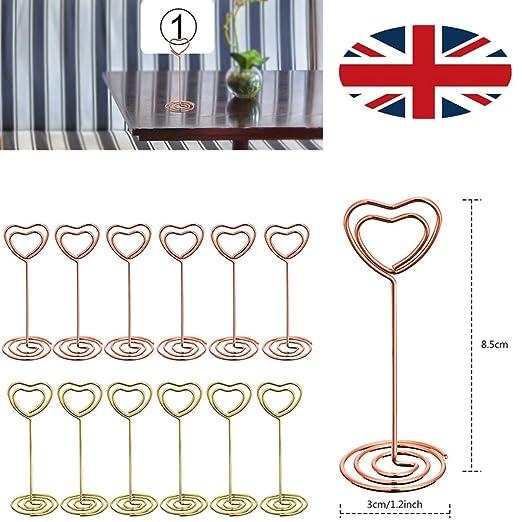 BESTONZON 6pcs Hochzeit Tisch Nummer Halterung Herz Form Clip Foto-Halter Platz Golden Karte steht Halter