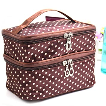 26af5a62c6a8 Image Unavailable. Image not available for. Color  Fashion Lady s Dot  Pattern Makeup Case Double Layer Cosmetic Hand Bag Tool Storage Toiletry (Coffee