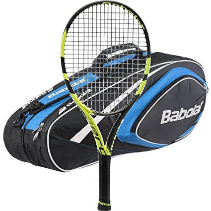 Babolat 2016-2018 Pure Aero Plus Tennis Racquet - Strung with 6 Racquet Bag (