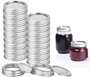 60 PCS Regular Mouth Canning Lids & Bands, CAMTOA Split-Type Metal Mason Jar Lids for Canning, Silver Reusable Leak Proof and Secure Storage Caps with Seals Rings (30 Count Lids + 30 Count Bands)