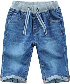 42bcab5cc2 Amazon.com: WIYOSHY Boys' Dark Blue Denim Elastic Waist Pull On Knee ...