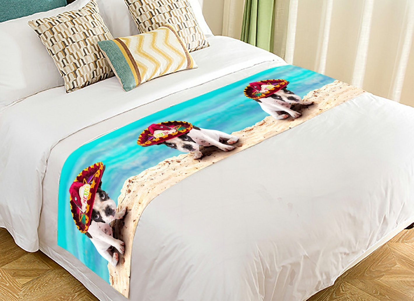 Custom Animal Bed Runner, French Bulldog Puppy in Mexican Sombrero on the Beach Bed Runners And Scarves Bed Decoration 20x95 inch
