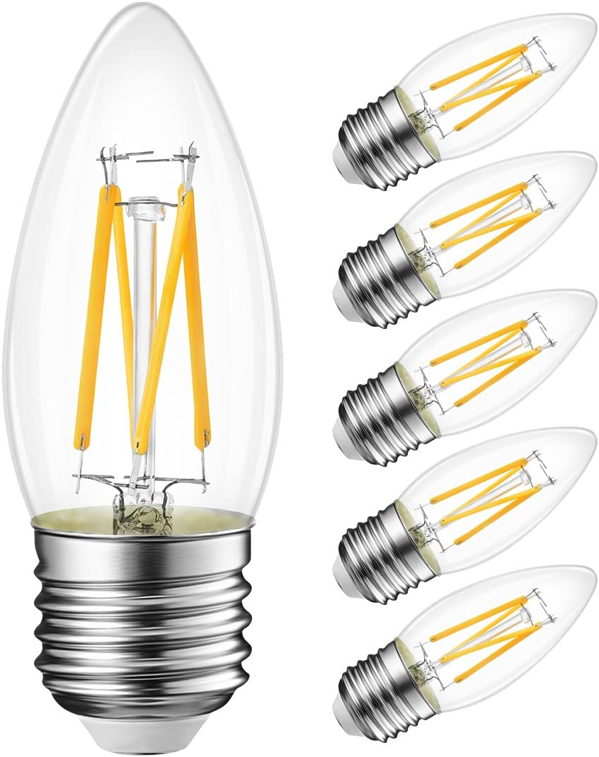 B11 LED Filament Bulb E26 Candelabra Medium Base 2700K Warm White, LVWIT 5.5W(40W Equivalent) 470 Lumens Non-Dimmable Decorative Candle Light Bulb, Pack of 6