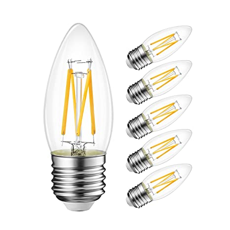 B11 LED Filament Bulb E26 Candelabra Medium Base 2700K Warm White, LVWIT 4W(40W