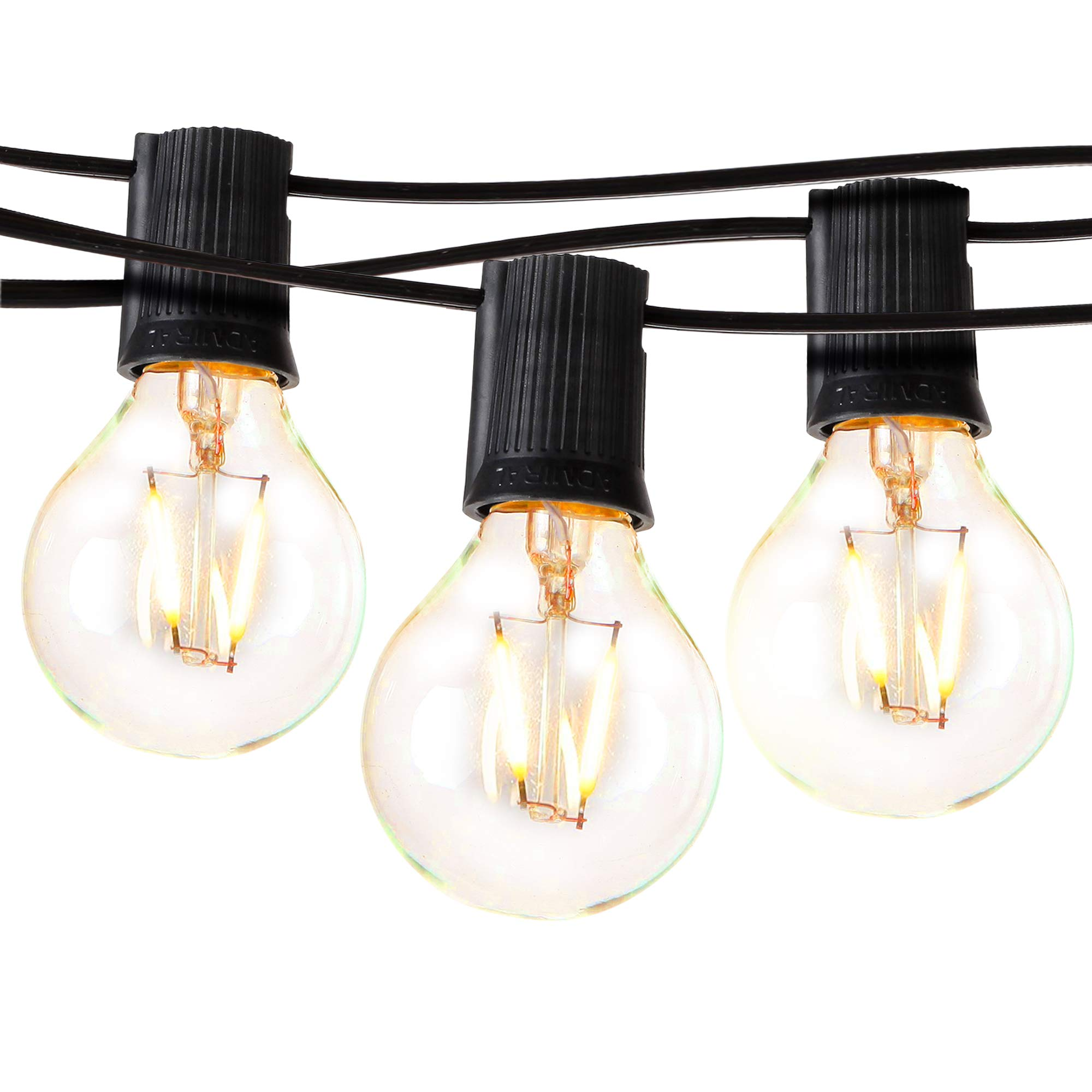 Brightech Ambience Pro - LED Outdoor Globe String Lights - Hanging 1W Vintage Edison Bulbs - Waterproof Patio Lights Create Cafe Ambience On Your Balcony - 26 Ft - Black by Brightech