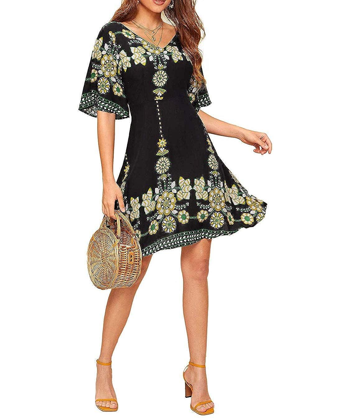Damen Kleider Damen Boho Sommerkleider Kurzarm V-Ausschnitt Strand Blumen Kleider Lange Strandkleid Maxikleid Bohemien A-Linie Partykleid