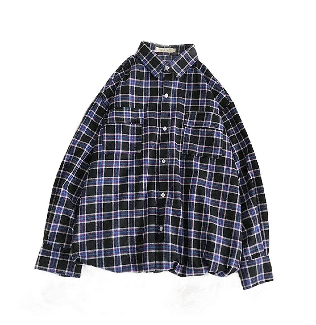 Coolred-Men Button-Front Casual Big and Tall Pockets Fine Cotton Shirt Tops