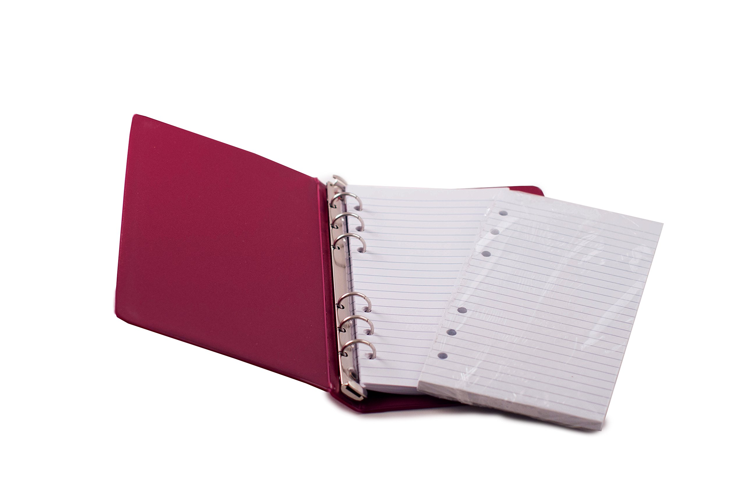 HNR RED Loose-Leaf Memo Book, 6 3/4 x 3 3/4'', 6-Ring Binder, 80 Pages + Free Refill 80 Pages