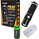 Fenix PD25 550 Lumen CREE LED Tactical EDC Flashlight with AOD-S diffuser, holster, clip and EdisonBright CR123A Lithium Battery bundle