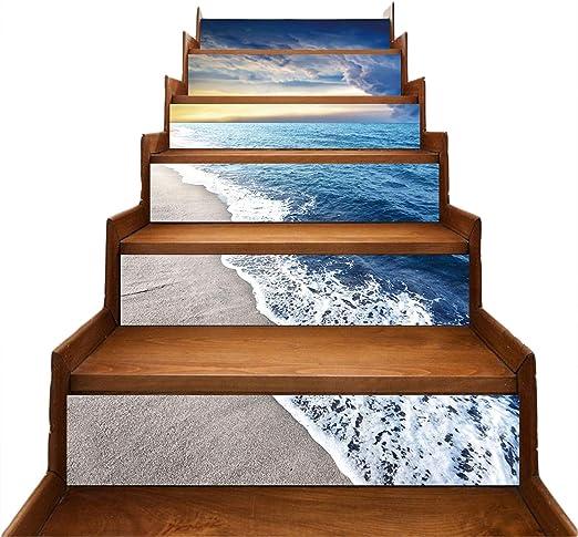 NINOMI Etiquetas engomadas de la Escalera Sala de Estar Decoración de Playa Azul Bricolaje Pegatinas de Pared a Prueba de Agua 6PCS.: Amazon.es: Hogar