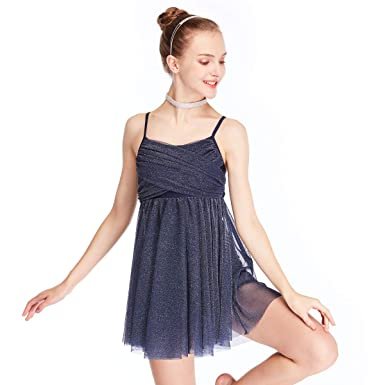 005749fd7aae MiDee Glitter Lyrical Dress Contemporary Dance Costume Crossing Pleated  (XSC, Navy Blue)