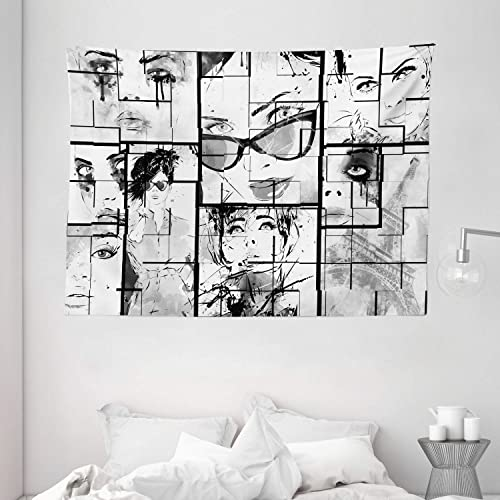 Ambesonne Eiffel Tower Tapestry, Women Faces with Different Eye Makeup Eiffel Tower Romance Paris Image, Wide Wall Hanging for Bedroom Living Room Dorm, 80 X 60 , White and Black