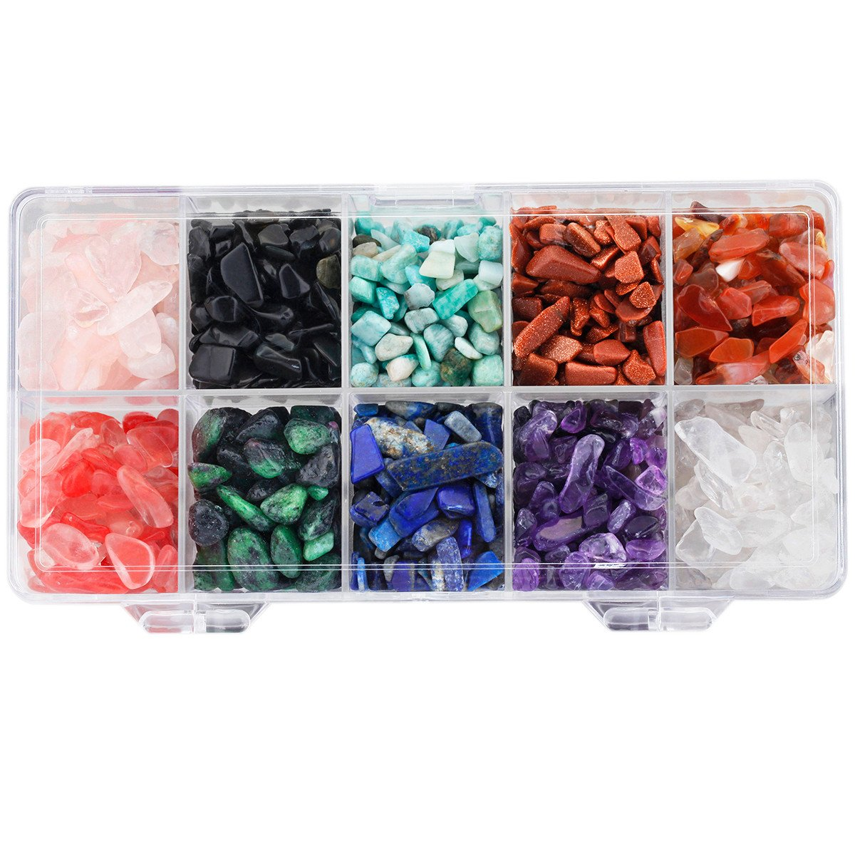SUNYIK 10 Assorted Stones Tumbled Chips Stone Crushed Pieces Crystal Quartz for Tumbling,Cabbing