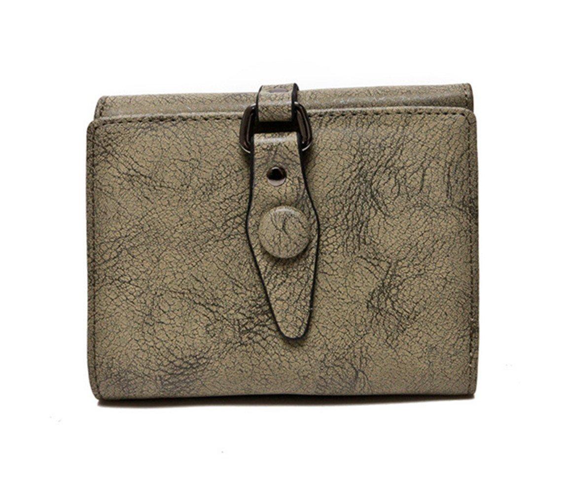 Women Short Trifold WalletRFID Blocking Leather Wallet Large Capacity Cash Bill Checkbook Card Holder Organizer (Army Green)