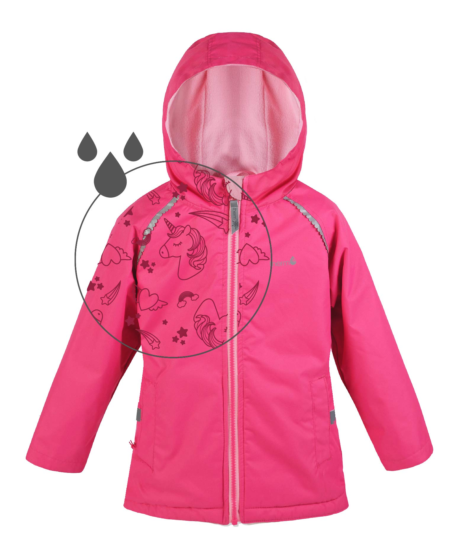 Therm Girls Rain Jacket, Lightweight Raincoat with Magic Pattern - Fleece Lined - Pink Purple Aqua - Toddler Kids Youth (2, Raspberry Pink) by Therm