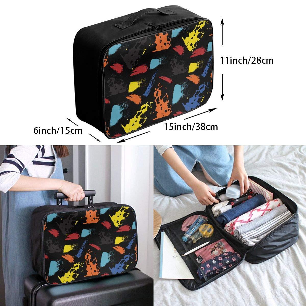 ADGAI Dark Random Graffiti Canvas Travel Weekender Bag,Fashion Custom Lightweight Large Capacity Portable Luggage Bag,Suitcase Trolley Bag