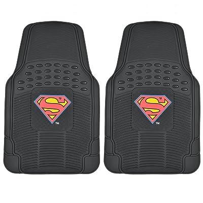 BDK WBMT-1672 Black PVC Rubber Superman Floor Mat - 2 Piece: Automotive