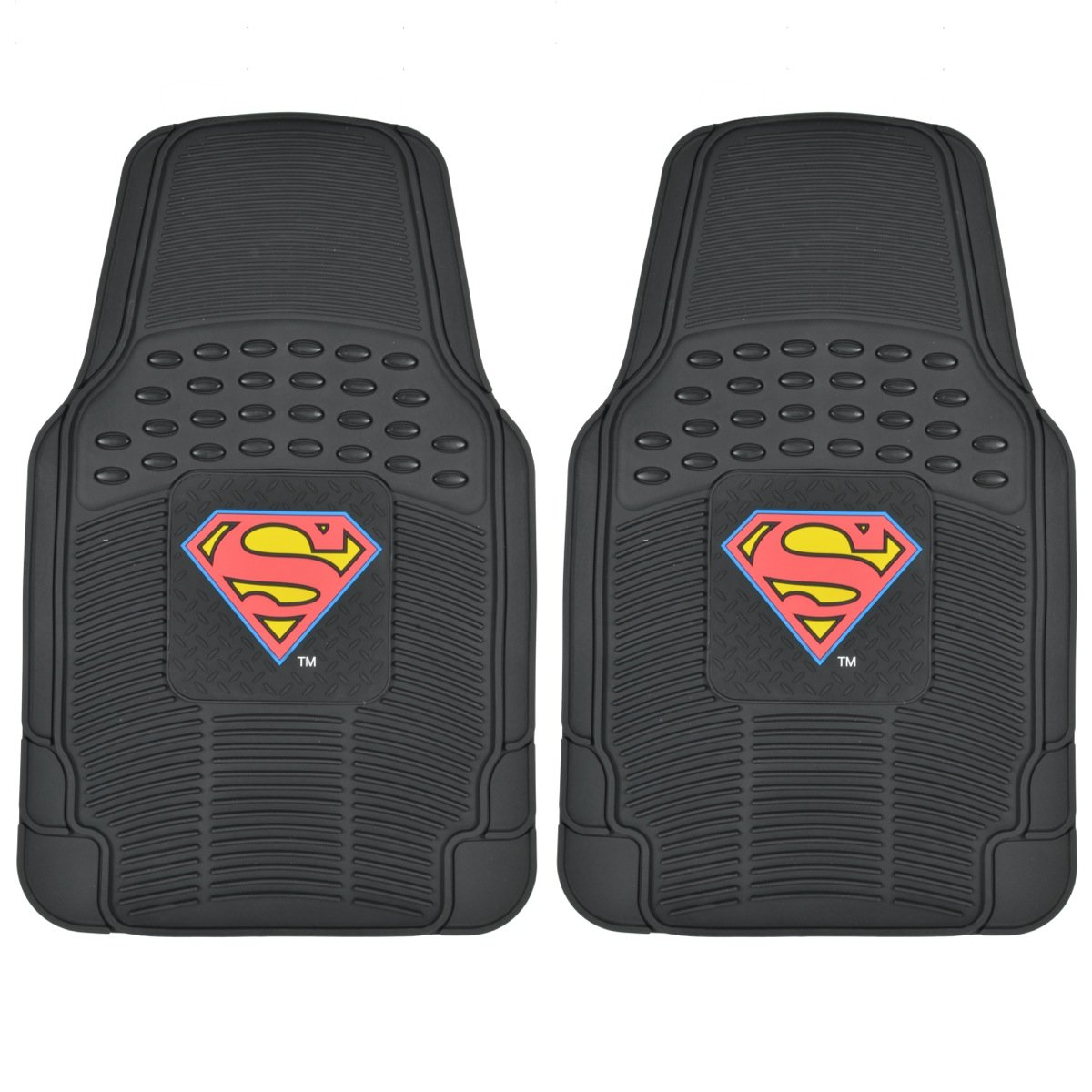 Superman Rubber Floor Mats Car 2 PC Front Heavy Duty All Weather Warner Bros BDK
