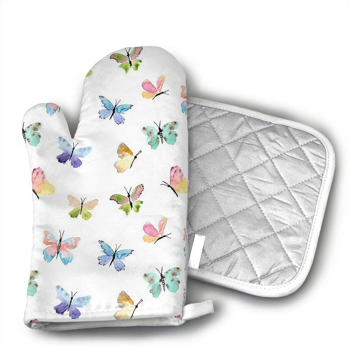 MEILVWEN Colorful Butterfly Oven Mitt and Pot Holder Set,Heat Resistant for Cooking and Baking Kitchen Gift