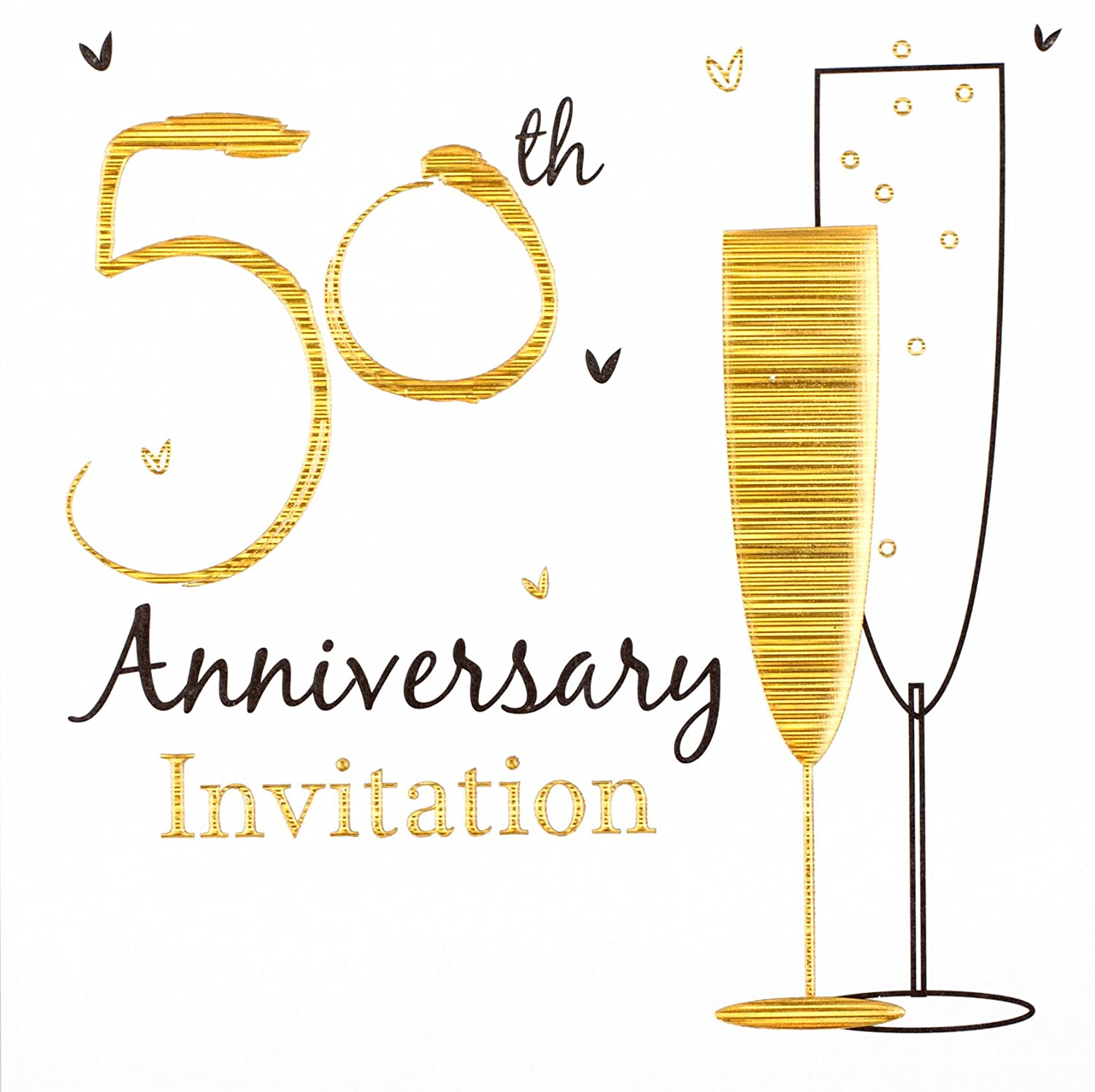 50th golden wedding anniversary party invitations holographic 36 cards with envelopes