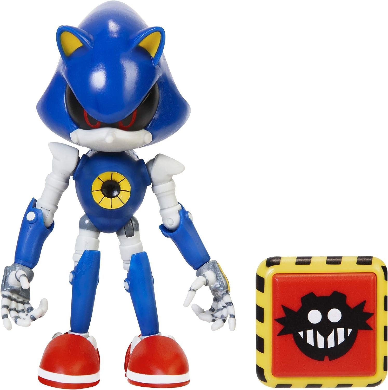 Sonic The Hedgehog Figura de acción sónica de Metal Moderno de 4 Pulgadas con Accesorio de Resorte de Trampa.