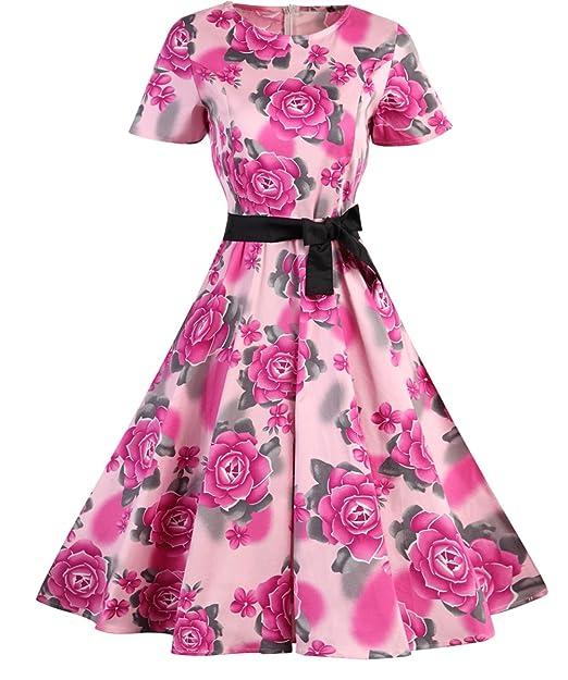 Vestidos Para Mujer De Estilo 1950 Vintage Rockabilly Retro Cóctel Fiesta Estampado de Flores Estilo1 Medium