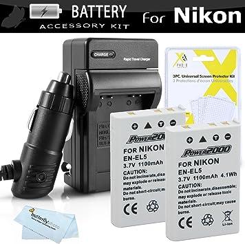 2 En-el5 Enel5 Baterías Y Cargador Para Nikon Coolpix P80 P90 P100 P500 P510 P520