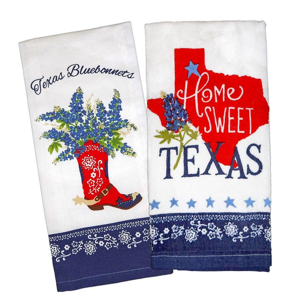 Kay Dee Designs Home Sweet Texas Bluebonnets Tea Towel and Cotton Terry Dishtowel (2 Item Bundle)