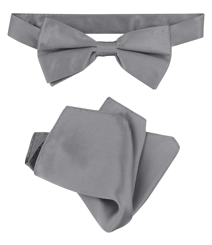 Biagio 100/% Silk BowTie Solid Charcoal Grey Color Mens Bow Tie /& Handkerchief
