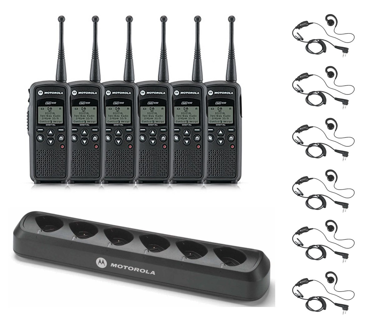 6 Pack of Motorola DTR550 Radios with 6 Push To Talk (PTT) earpieces and a 6-Bank Radio Charger