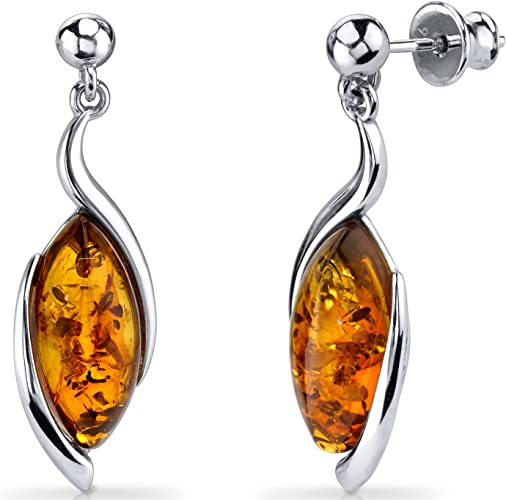 Sterling Silver Rectangle Stud Earrings with Genuine Baltic Cognac Amber.