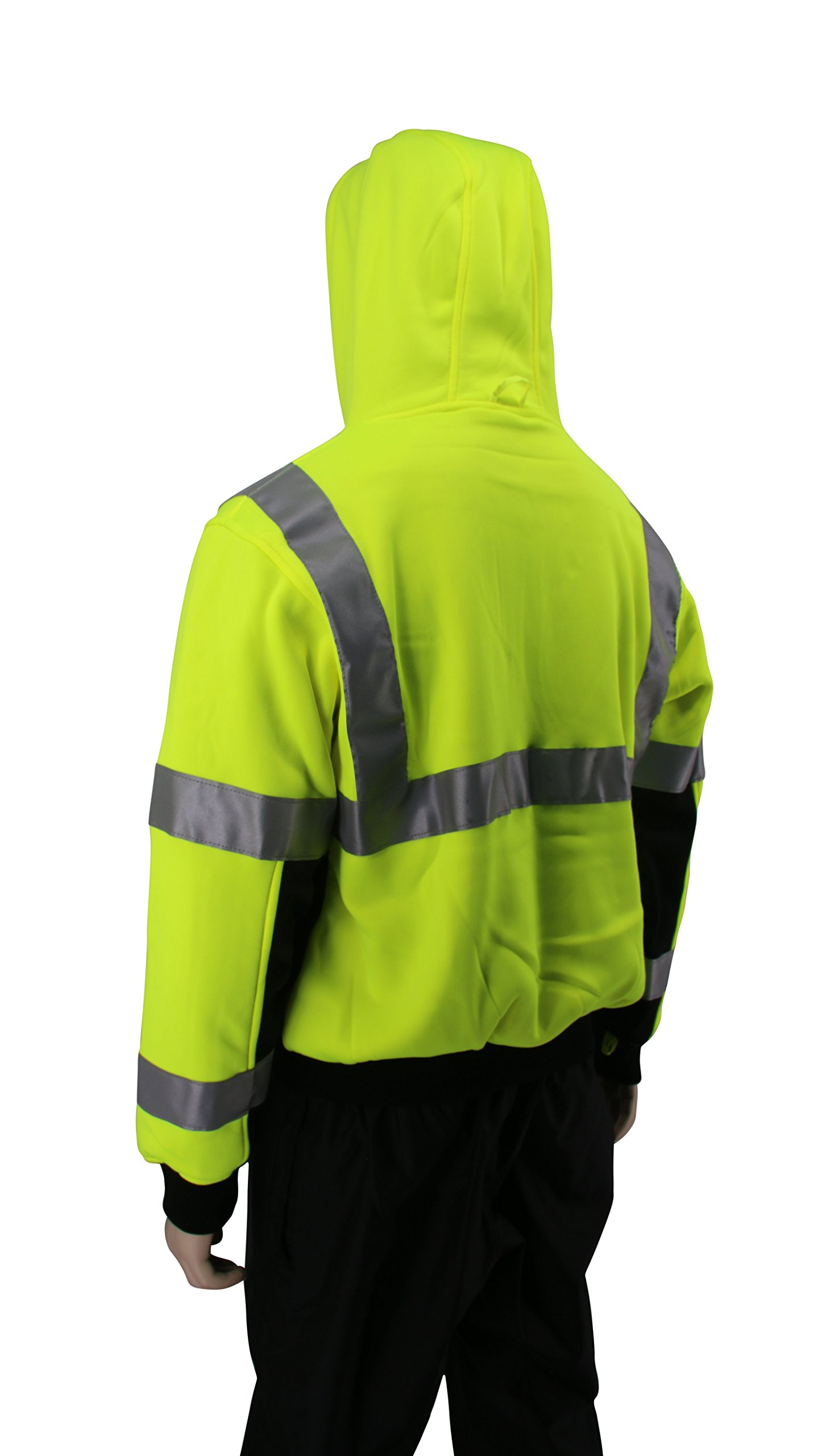 Brite Safety Style 5010 Hi Viz Sweatshirts for Men or Women   Safety Hi Vis Hoodie, 2-Tone Sweatshirt   Thermal Liner, Full Zip 16oz, with 3M Reflective Tape   ANSI 107 Class 3 (4XL) by Brite Safety (Image #4)