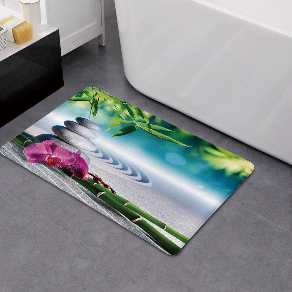 Memory Foam Bath Mat,Spa Decor,Sand Orchid and Massage Stones in Zen Garden Sunny Day MeditationPlush Wanderlust Bathroom Decor Mat Rug Carpet with Anti-Slip Backing, by iPrint (Image #2)