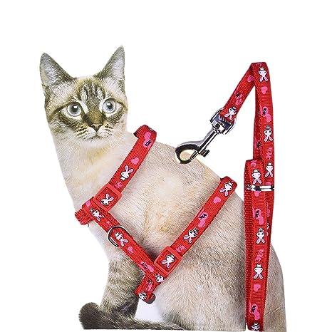 Sotoboo - Arnés de Nailon Ajustable para Gatos, Estilo H (Correa y arné)