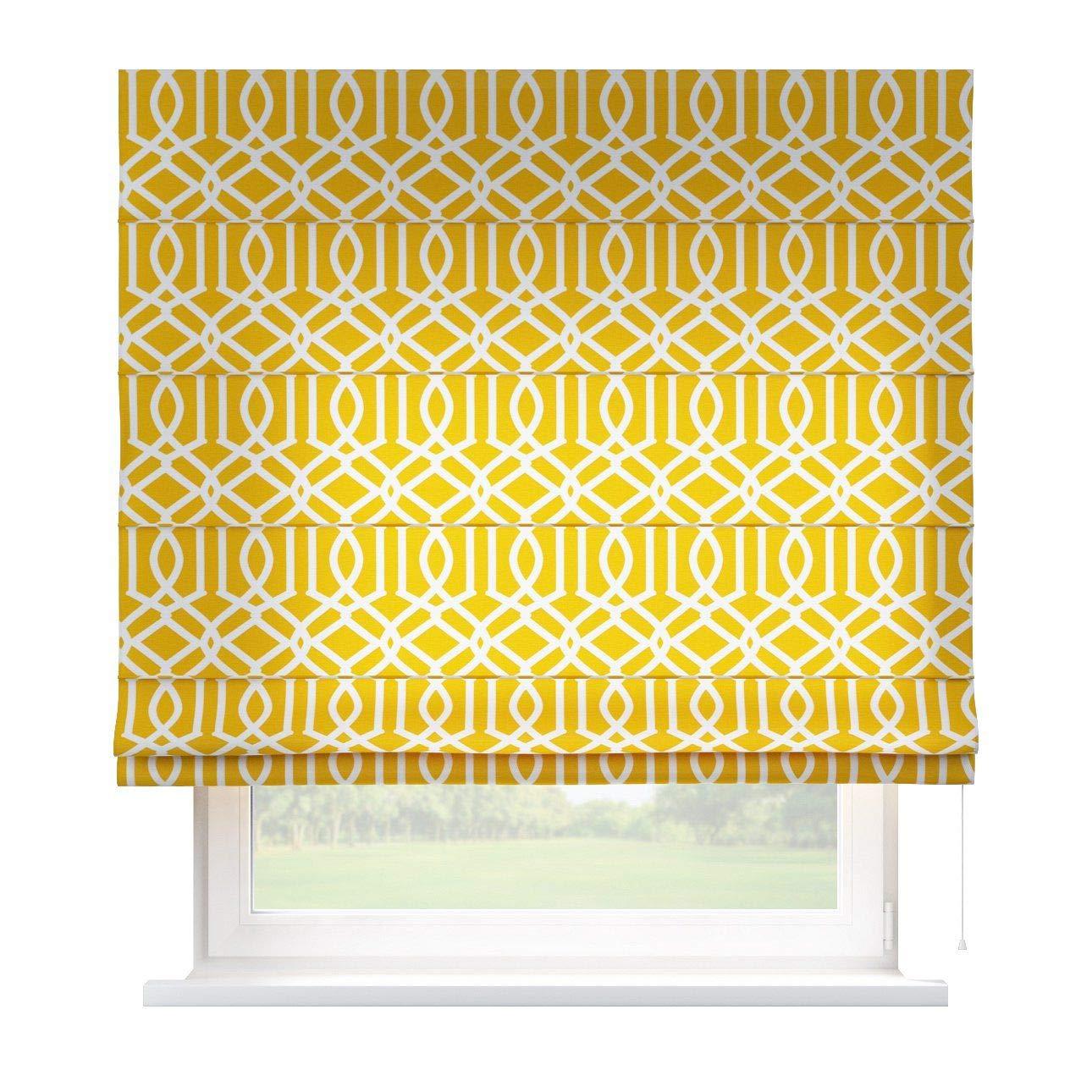 Dekoria Raffrollo Capri ohne Bohren Blickdicht Faltvorhang Raffgardine Wohnzimmer Schlafzimmer Kinderzimmer 160 × 170 cm gelb Raffrollos auf Maß maßanfertigung möglich