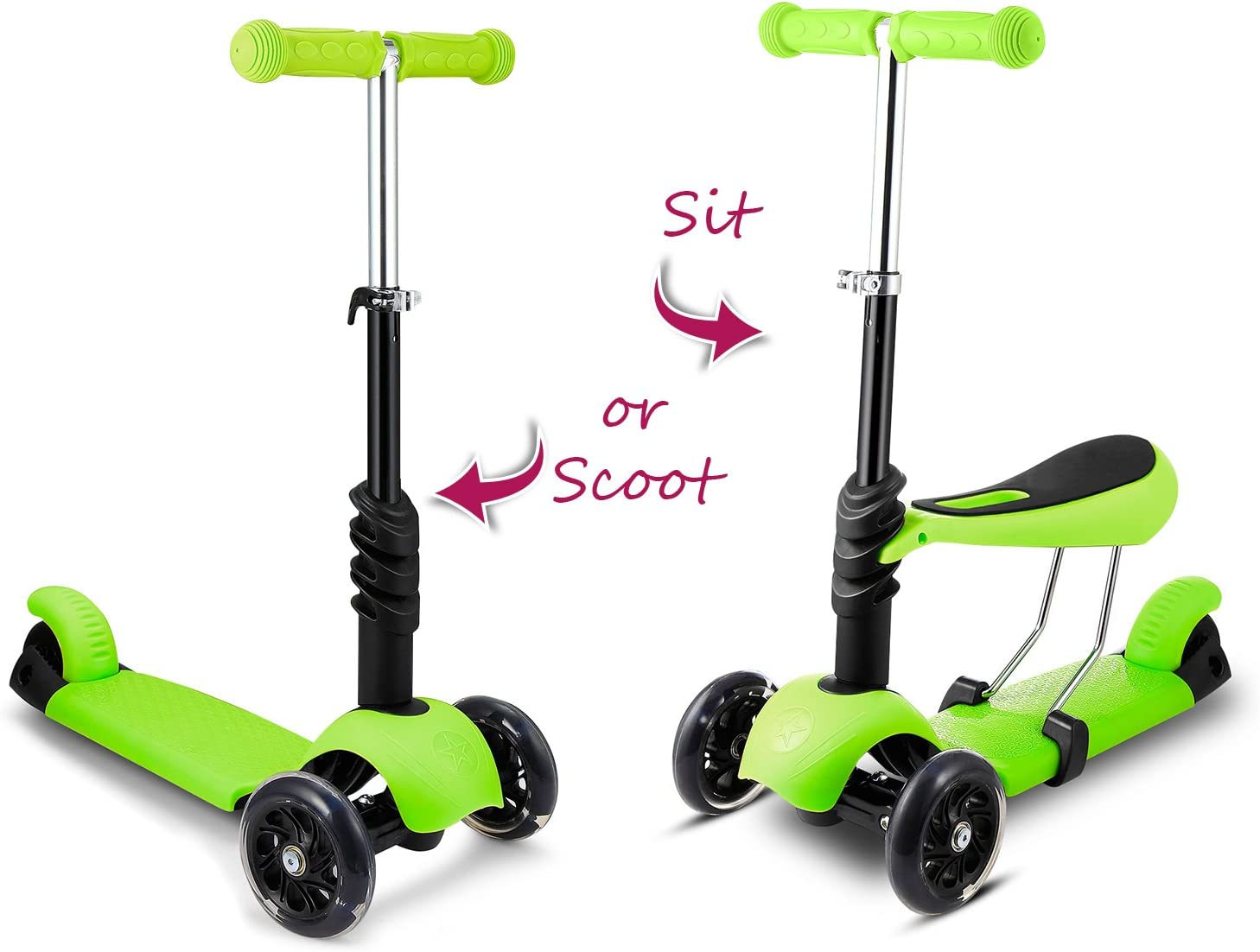Hikole Scooter for Kids, Kick Scooters with Folding Removable Seat, Scooter for Toddlers Girls Boys, 3 Levels Height and 3 PU Flashing Wheels, Design for Children 2-8 Years Old