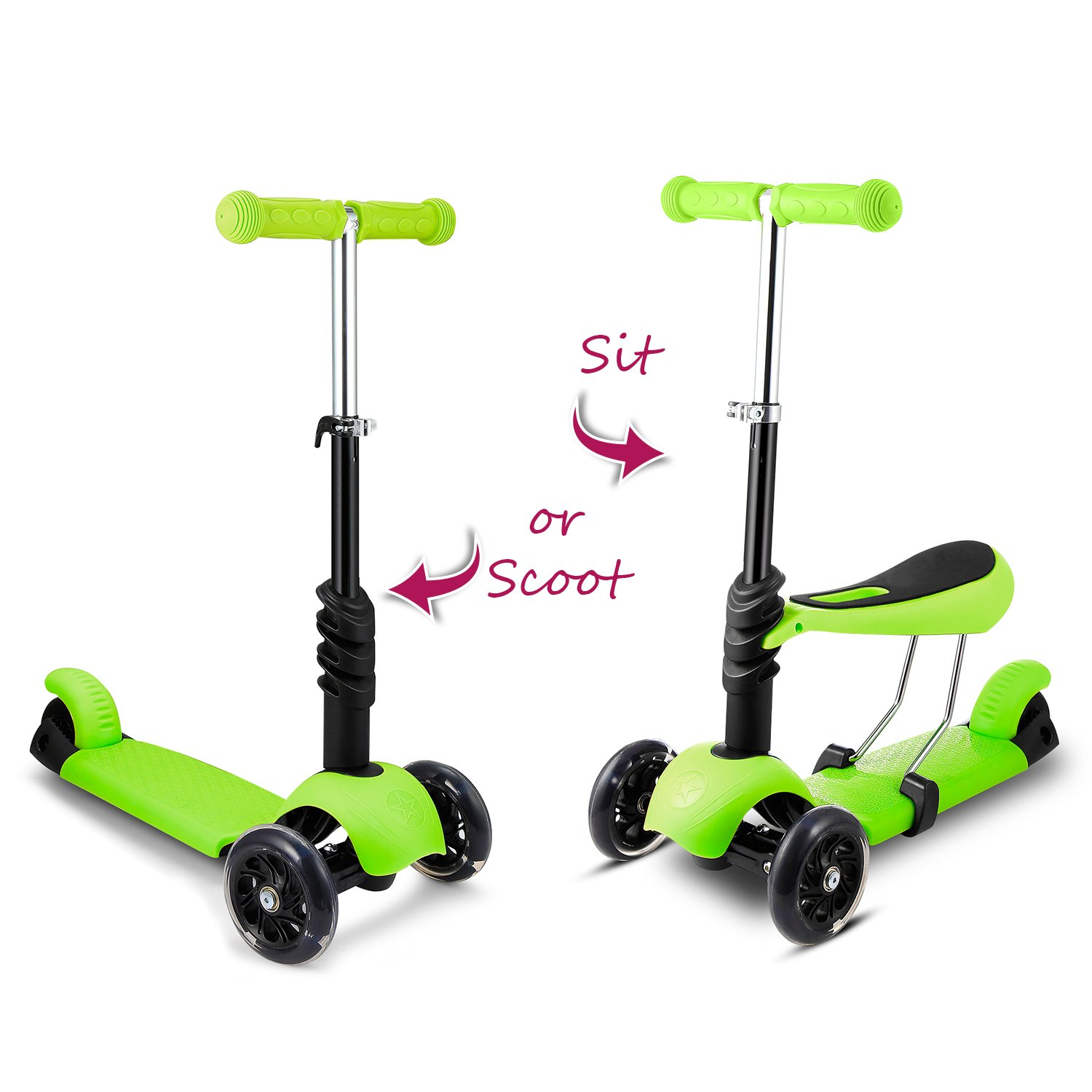 Hikole Scooter with Seat for Kids Toddlers | 3-in-1 Foldable Portable Adjustable 3 Wheels Mini Scooter with LED Light up Wheels for Children Boys Girls 2 Years Old and Up, Supports 110lbs by Hikole