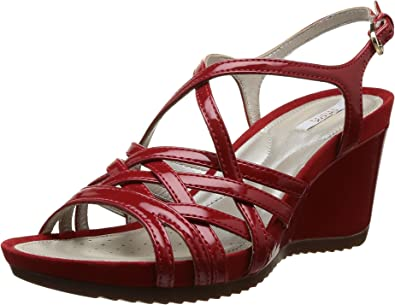 Geox D New Roxy A, Sandali Donna Rosso Rosso (Rosso) 38