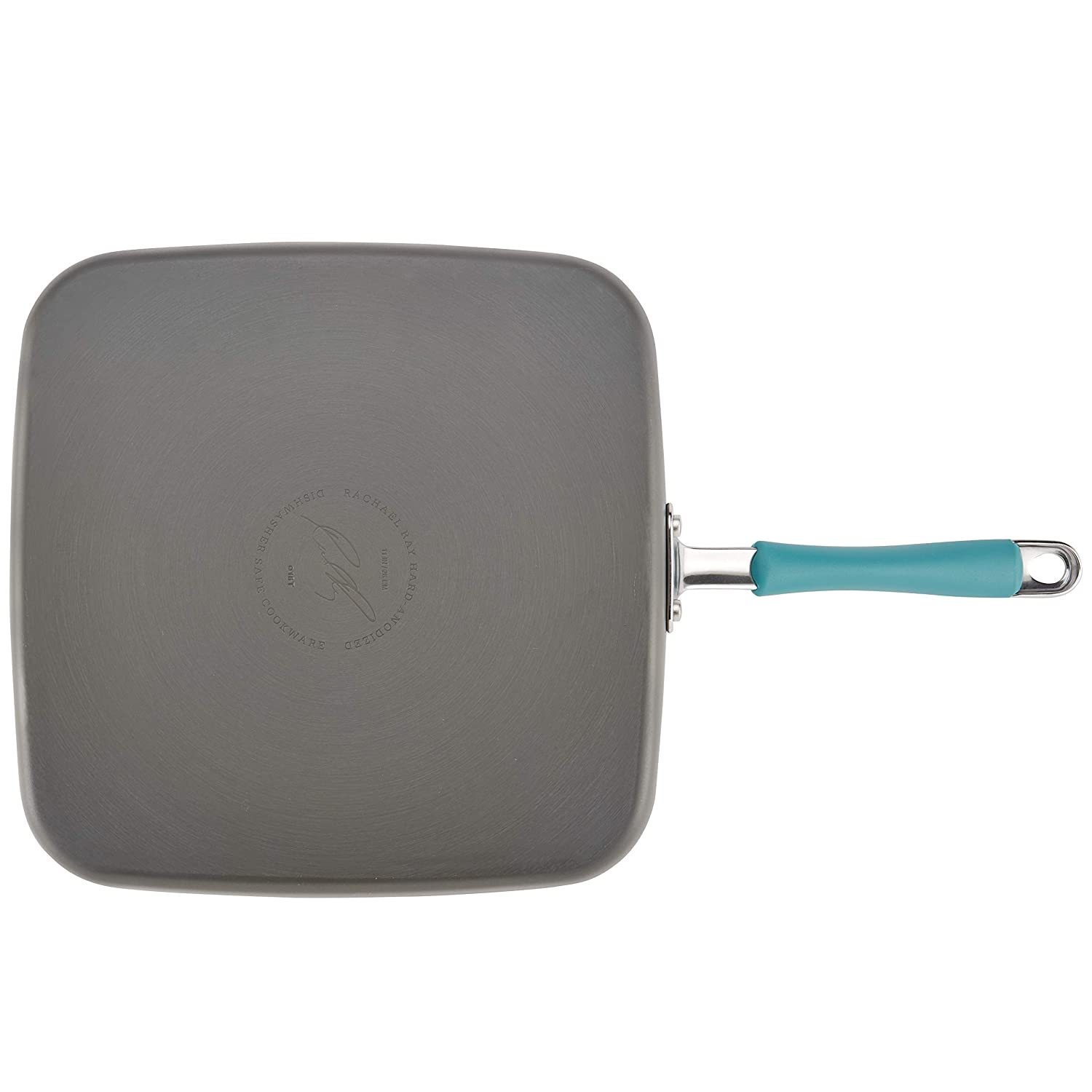 Rachael Ray 87659 Cucina Hard-Anodized Nonstick Shallow Square Griddle Gray with Agave Blue Handle Small