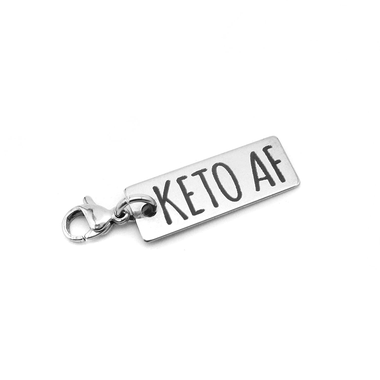 KETO AF Stainless Steel Charm with Clasp - Funny Ketogenic Weight Loss Jewelry and Fitness Charms For Motivation - Tarnish Free Hypoallergenic Stainless Steel