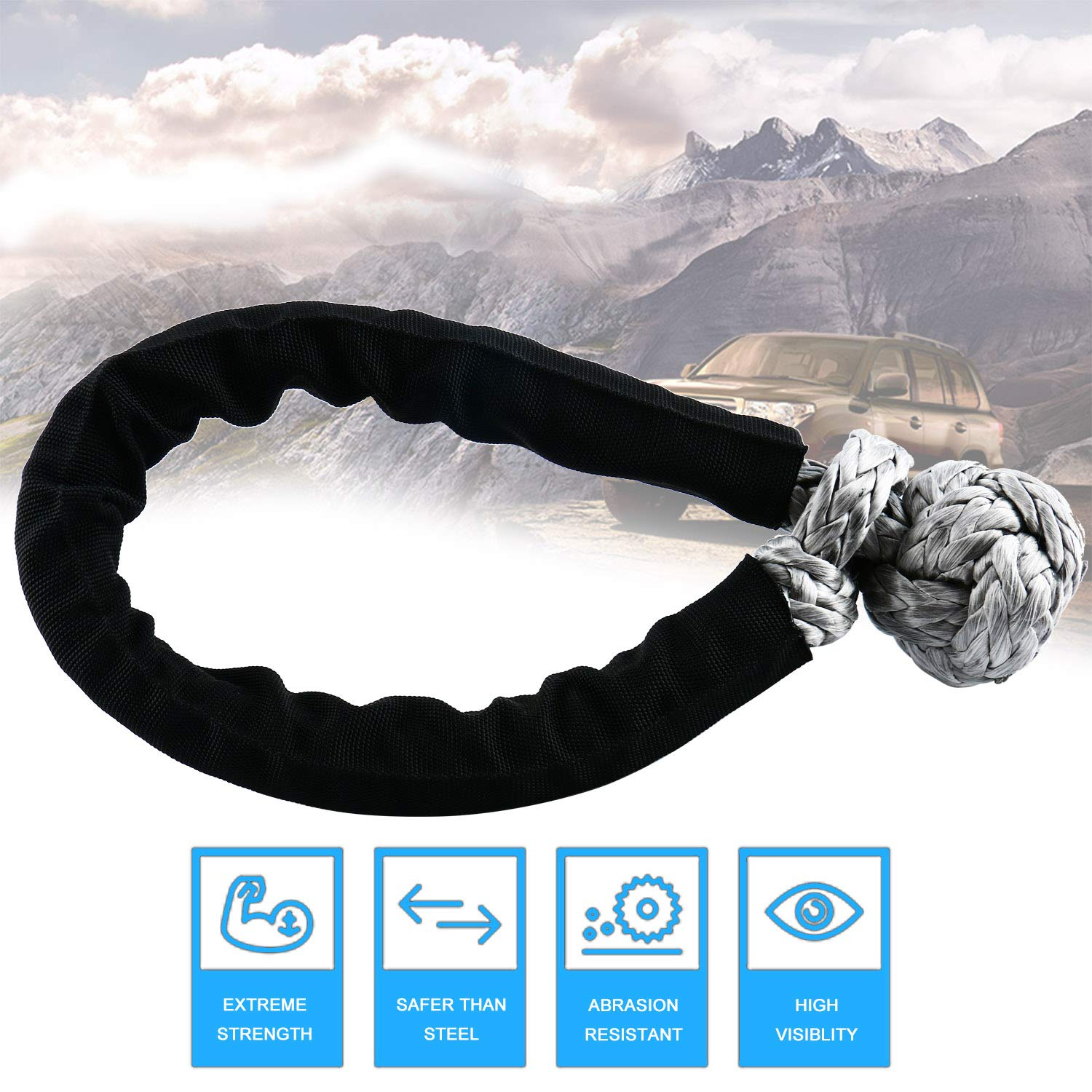 with Black Sleeve for 4 Off-Road ATV UTV Jeep Winch Ropes DasMarine Soft UHMWPE Shackle 5//16 x 16.5 5//16 x 16.5 12120LBS Breaking Strength