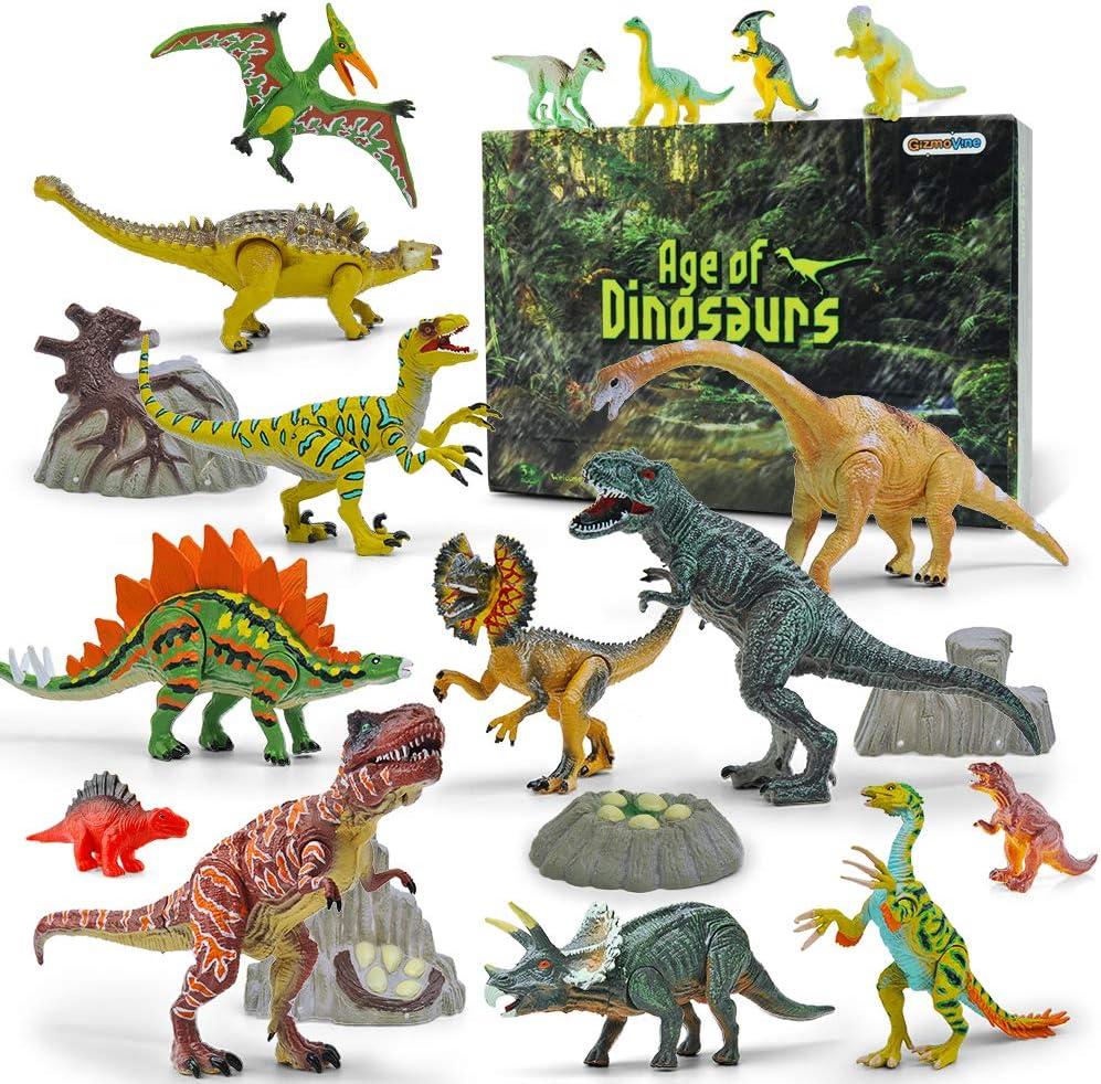 GizmoVine Juego de Dinosaurios Educativo Realista Figura de Dinosaurio 20 Piezas Juguete para Fiestas de cumpleaños Infantiles
