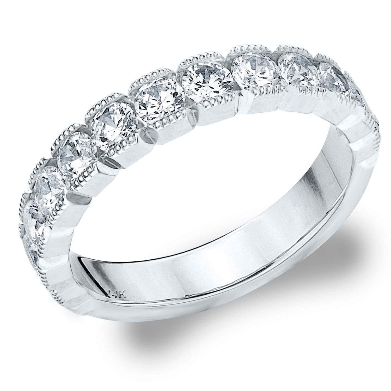 1.0 CTTW Riviera Diamond Wedding Ring, 1CT Milgrain Anniversary Ring in 14K White Gold - Finger Size 7