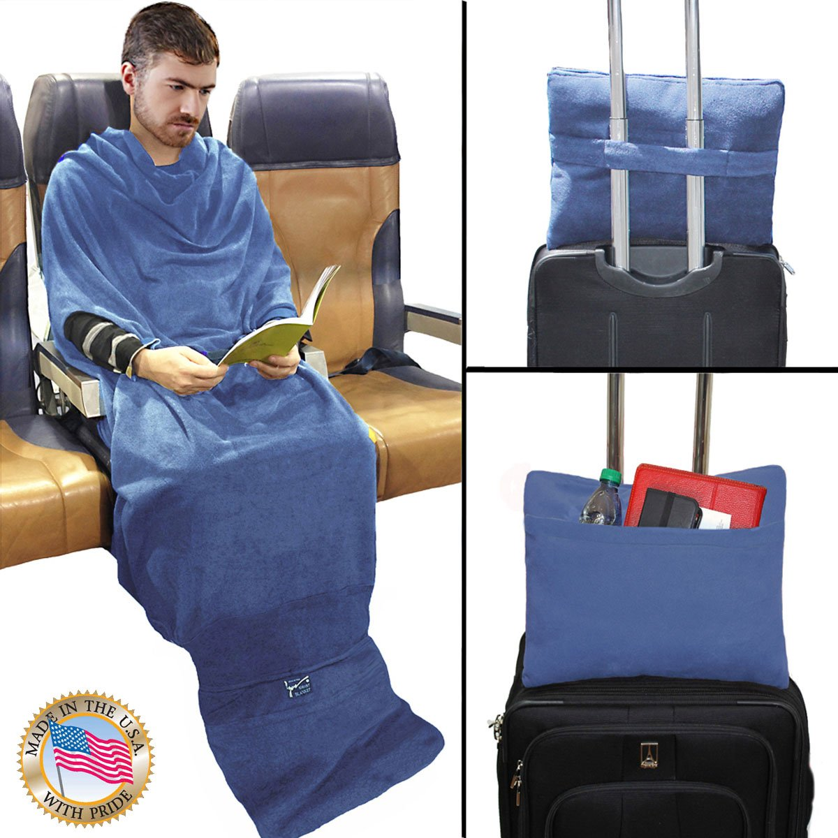 Smart Blanket The Convenient Wearable Throw Blanket - Travel, Home, Office Anywhere - Made in USA - Size: SM/MED - Color Denim